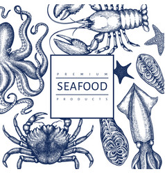 Seafood design template hand drawn seafood vector