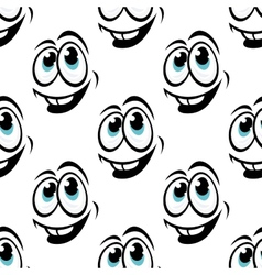 Seamless background pattern of cartoon happy faces vector image