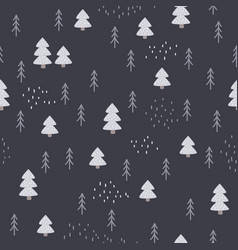 seamless hand-drawn forest pattern in scandinavian vector image
