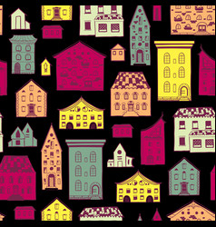 seamless pattern color houses-02 vector image