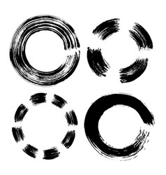 set hand drawn circle black doodles scribble vector image