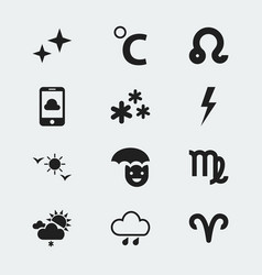 Set of 12 editable climate icons includes symbols vector