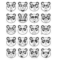Set of panda face emoticon outline vector