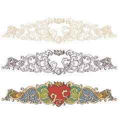 set of renaissance crowned heart borders vector image