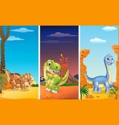 set of three dinosaurs vector image