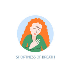 Shortness breath - symptom coronavirus hand vector