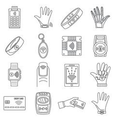 Smart nfc technology icon set outline style vector