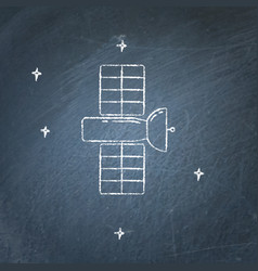 Space satellite icon on chalkboard vector