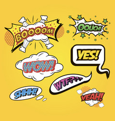 Speech bubbles comics speech and exclamations vector