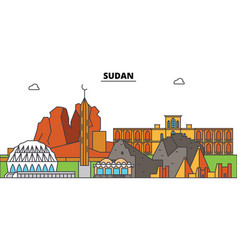 Sudan outline city skyline linear vector