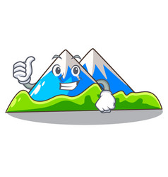 Thumbs up miniature mountain in the character form vector