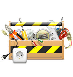 Toolbox with electric accessories vector