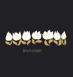 tulips blossom color invitation template vector image