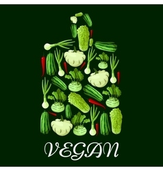 Vegan cutting board icon with healthy vegetables vector image