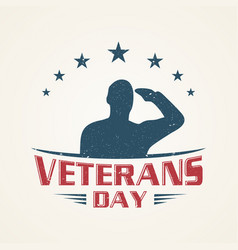 vintage emblem design veterans day vector image