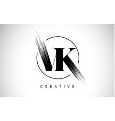 vk brush stroke letter logo design black paint vector image