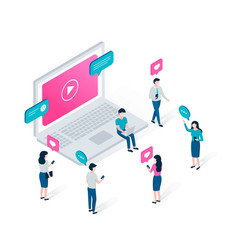 vlog video blogging isometric concept vector image