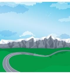 Winding road through a mountain landscape vector
