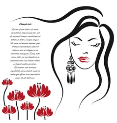 Woman with long hair and flowers vector