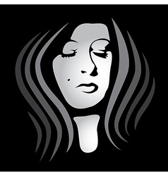 womans face on dark background vector image