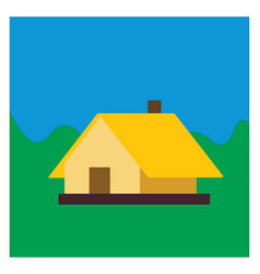 yellow house on white background vector image