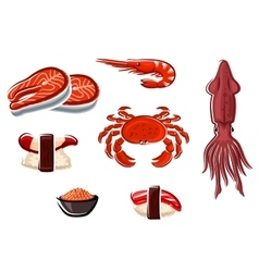 Fresh seafood and sea animals vector image vector image