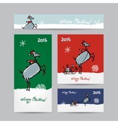 Funny goat santa Christmas cards design vector image