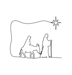 mary and joseph journeying through the dessert vector image