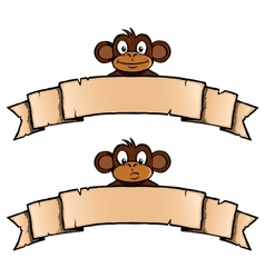 Monkey with ribbon banner vector image vector image