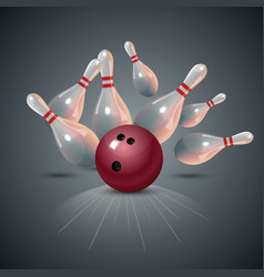 realistic bowling strike concept on dark gray vector image vector image