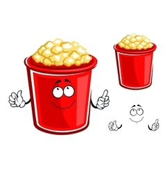 Red bucket of caramel popcorn vector image