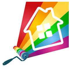 Roller with paint and house vector