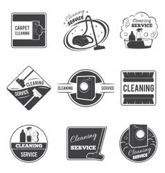 Vintage cleaning service logos emblems vector image