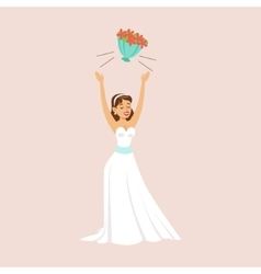 Bride Throwing Her Bridal Bouquet At The Wedding vector image