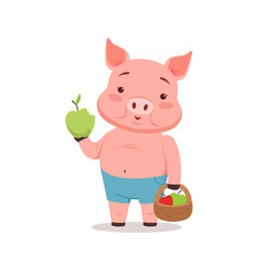 Cute pig holding basket with apples funny cartoon vector