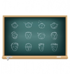 drawing faces by a chalk vector image vector image