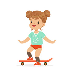 girl riding on a skateboard kids summer activity vector image
