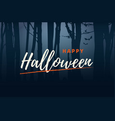 happy-halloween-title-logo-with-forest-background vector image vector image