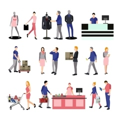 People silhouettes in shopping mall Icons vector image vector image