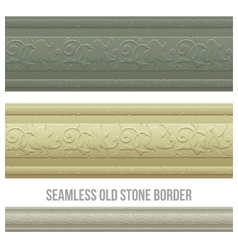Set of seamless borders stone marble vector image