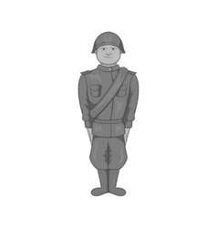 Soldier icon black monochrome style vector image vector image