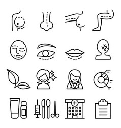 surgery icon set in thin line style vector image vector image