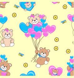 teddy bears seamless pattern vector image