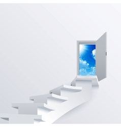 White way path to a door on background vector image vector image