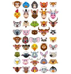big animal head cartoon collection vector image vector image