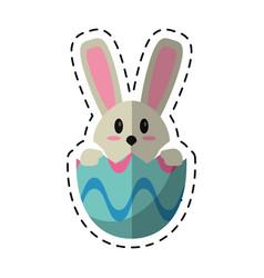 cartoon easter bunny in egg surprise vector image vector image