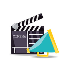 clapperboard with megaphone to short film scene vector image vector image