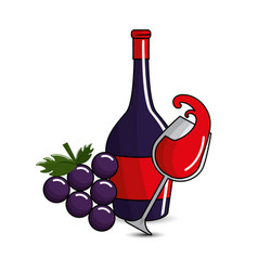 glass splashing and bottles wine and grape icon vector image vector image