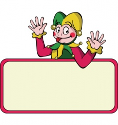 harlequin with bulletin board vector image vector image