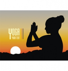 silhouette of a woman meditating vector image vector image